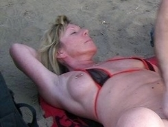 Having sex fun on nude beach
